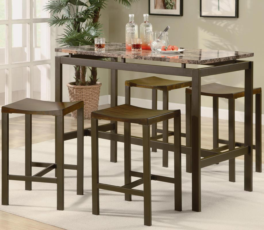 porch table and chair set steel long coaster atlas 5 piece counter height dining - brown with marble like top 150096 at ...