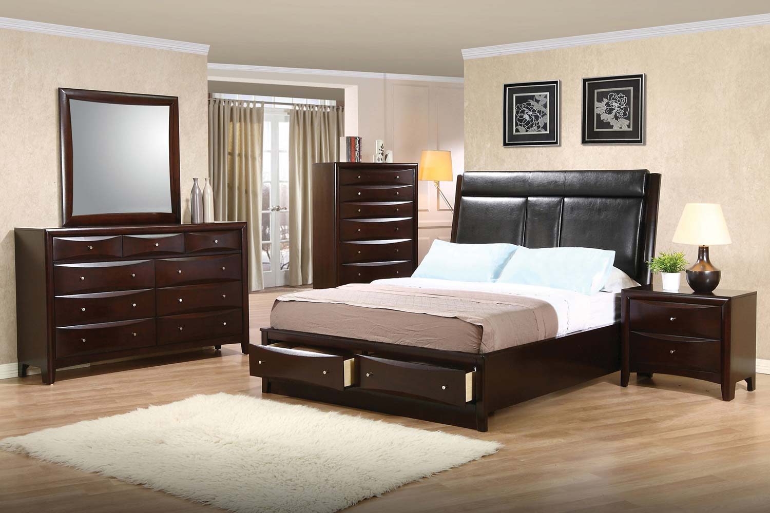 Coaster Phoenix Upholstered Storage Bedroom Set  Deep Cappuccino 200419UphStorBedSet at