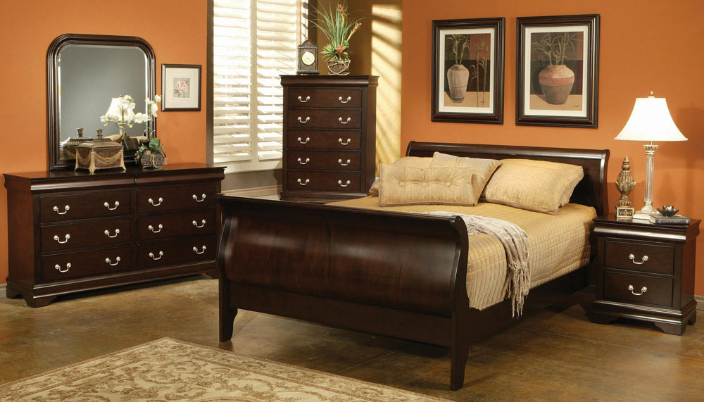 Coaster Louis Philippe Cappuccino Sleigh Bedroom Set 203981BEDSET at Homelementcom