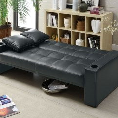 Coaster Futon Sofa Bed With Removable Armrests Review Cushion Foam Density 300125 Black At Homelement