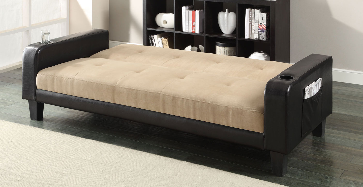 coaster futon sofa bed with removable armrests review my art aberdeen 300295 khaki brown at homelement