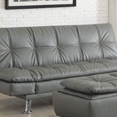 Coaster Futon Sofa Bed With Removable Armrests Review Leather Sectional Modern Dilleston Grey 500096 At Homelement