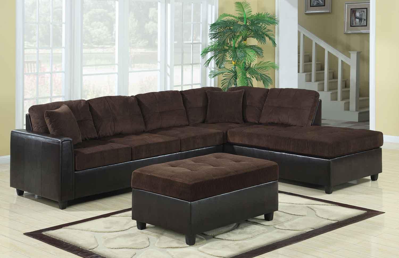 Coaster Henri Reversible Sectional Sofa Set  ChocolateBlack 503013LivSet at Homelementcom
