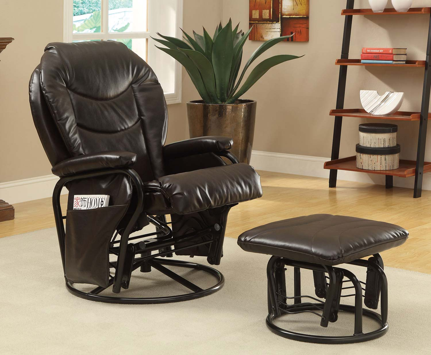 childcare glider rocker chair ottoman comfortable outdoor coaster 600295 set brown at