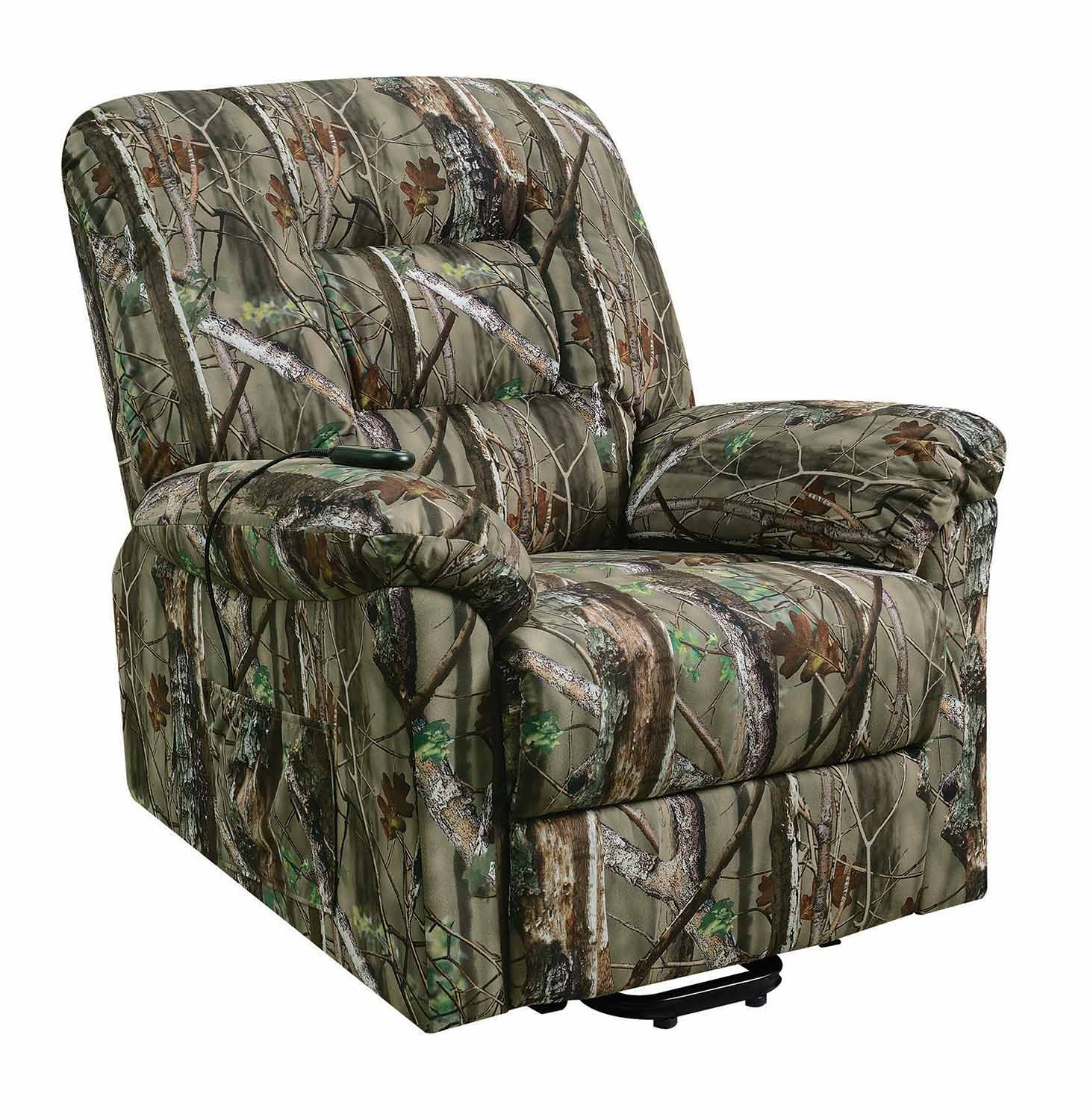 camo recliner chair black pads coaster 601027 power lift camouflage print