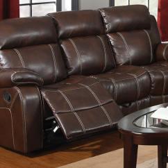Baseball Leather Sofa Pink For Sale Coaster Myleene Motion Chestnut 603021 At