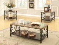 Coaster 701695 3-Pc Coffee/Cocktail Table Set - Dark Brown ...