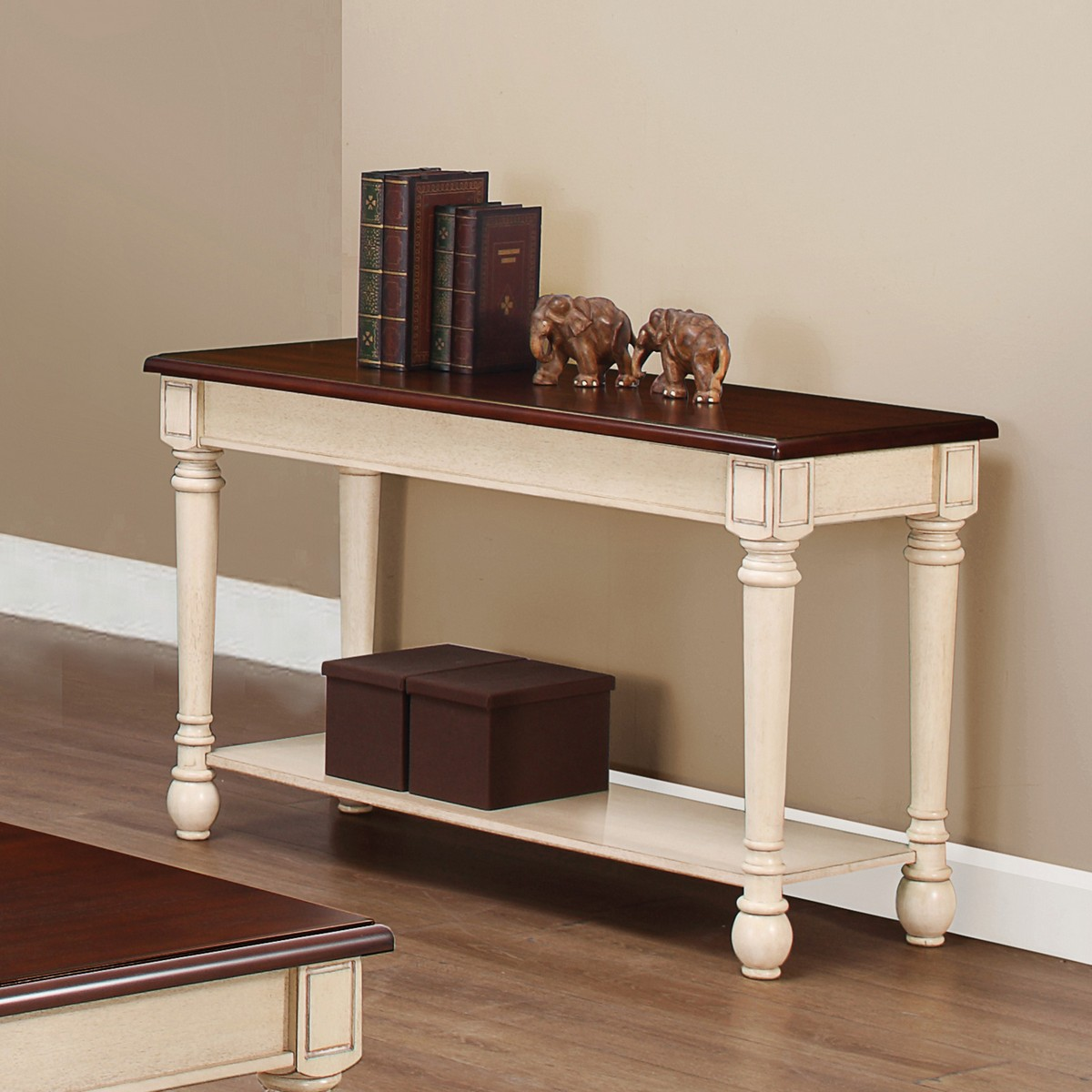 Coaster 704419 Sofa Table  Dark Brown Antique White 704419 at Homelementcom