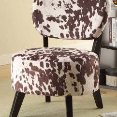 Cowhide Print Accent Chair Bedroom Occasional Coaster 902226 Brown White Cow