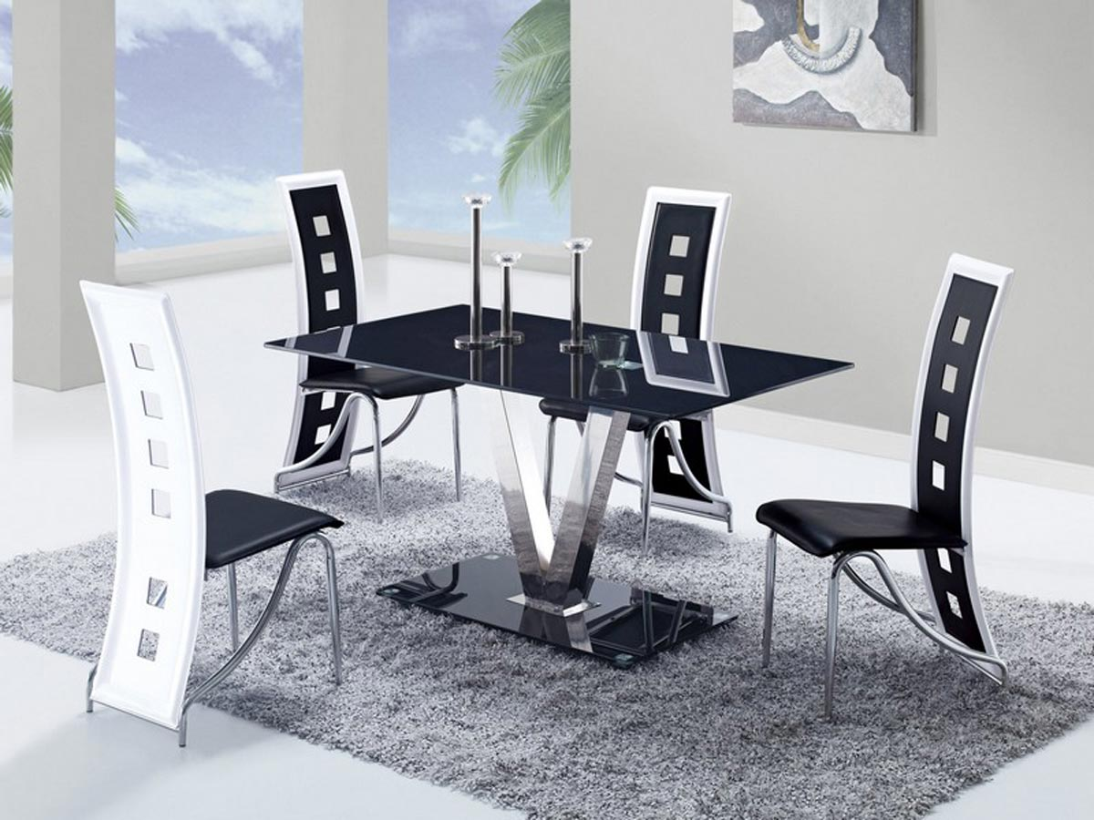 dining chairs with stainless steel legs spider man chair global furniture usa 551 set black