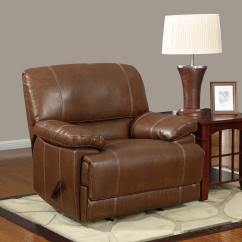 Brown Leather Recliner Chair Zebra Desk Global Furniture Usa 9963 Rocker Bonded