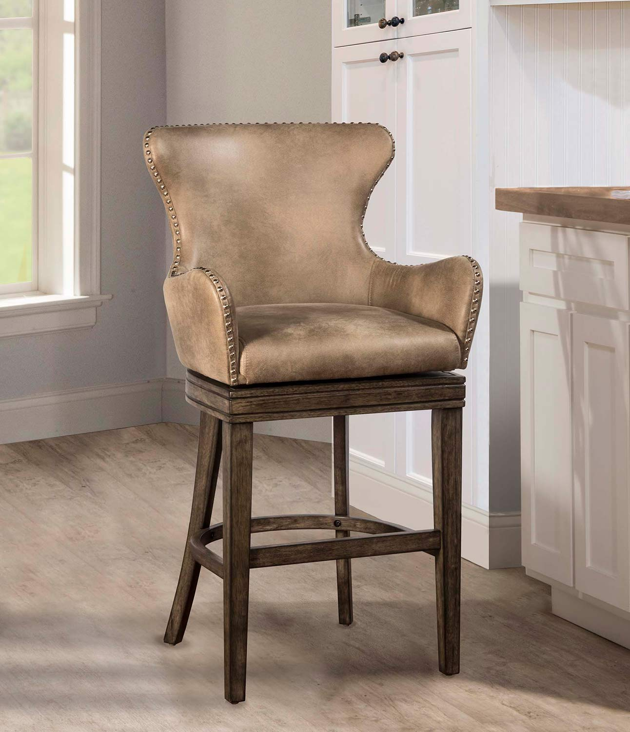 bar stool chair grey best computer for gaming hillsdale caydena swivel rustic gray hd 4346