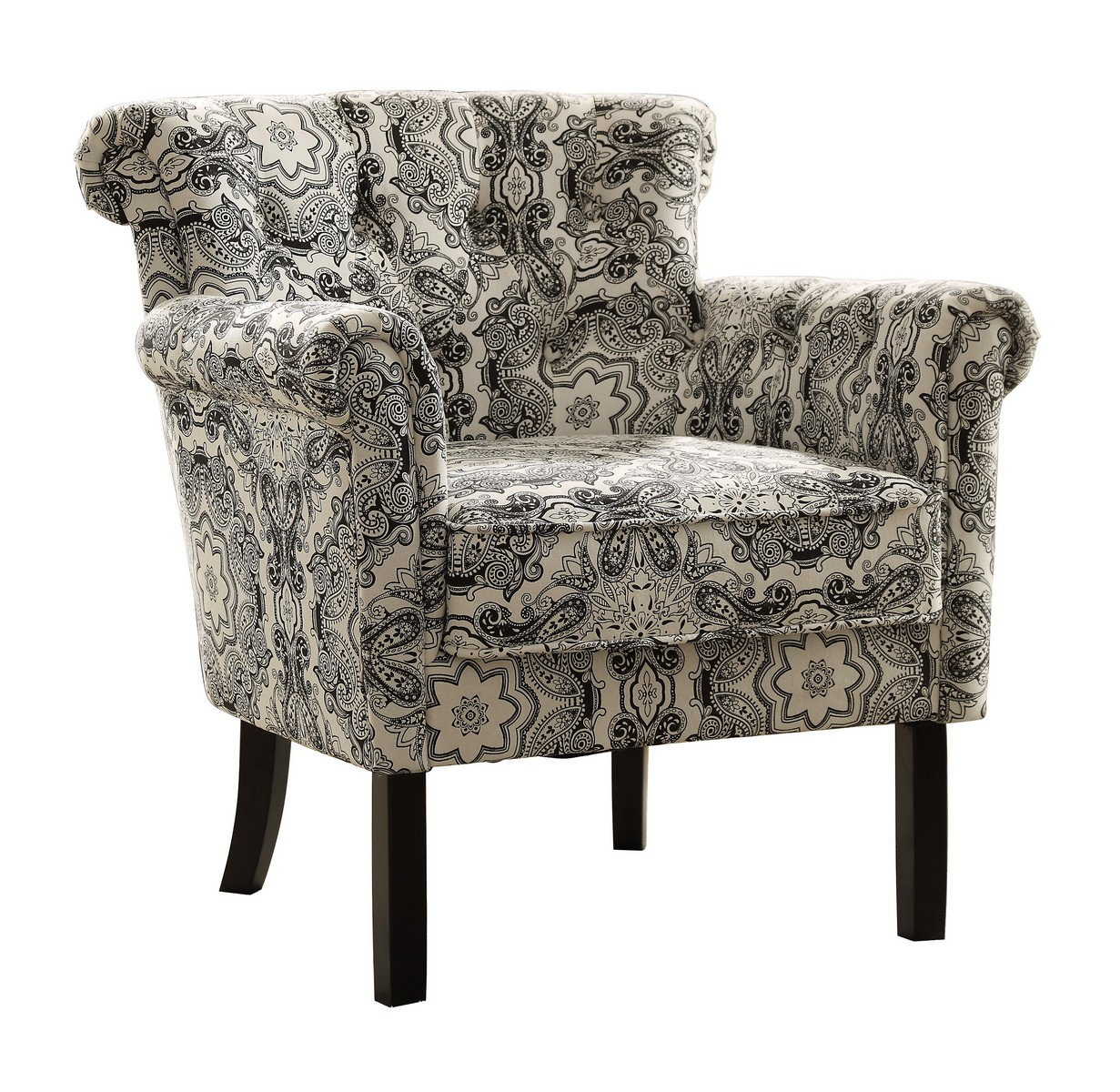 print accent chair hanging stand frame homelegance barlowe black paisley