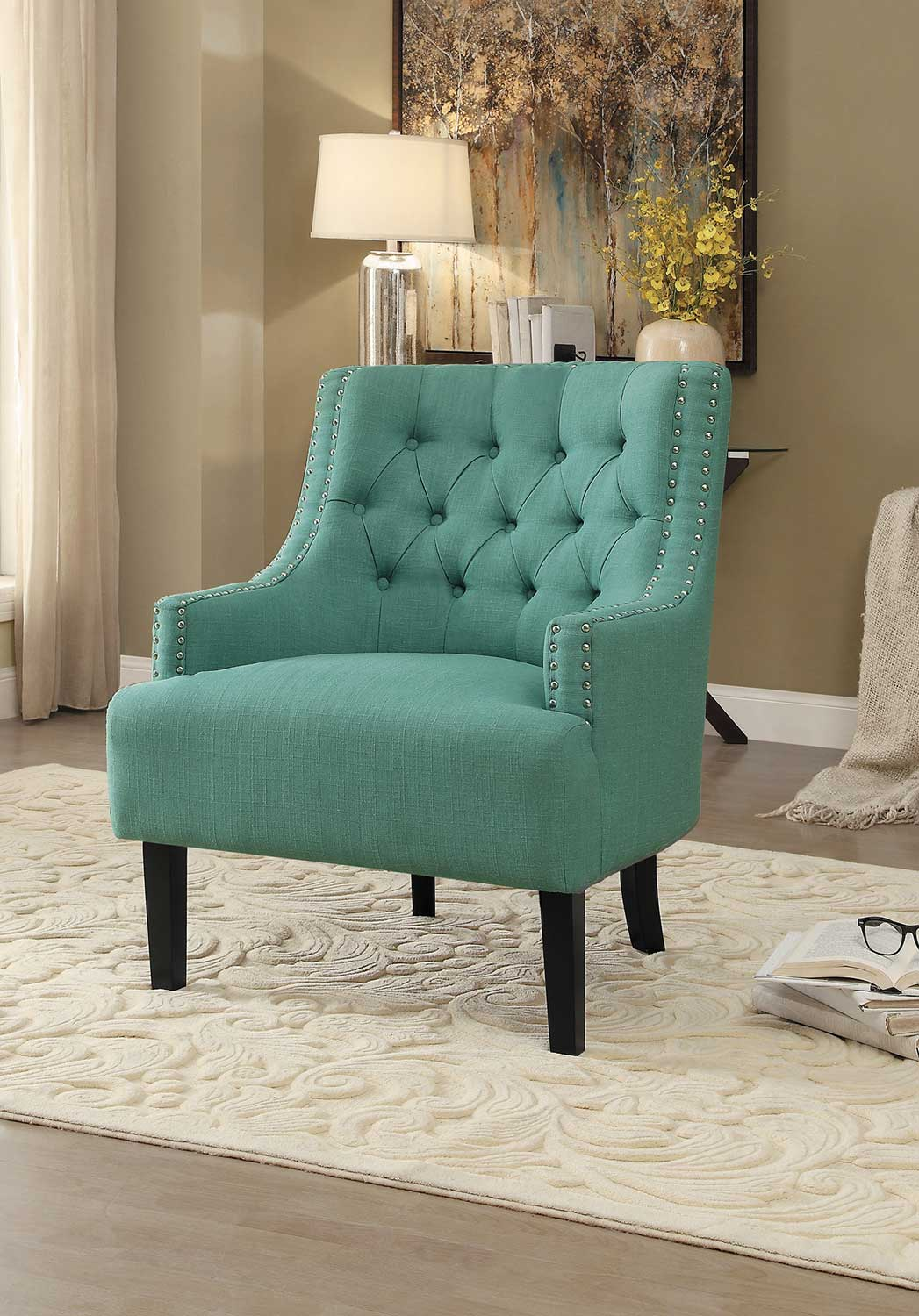 accent chair teal reclining folding with footrest homelegance charisma 1194tl at