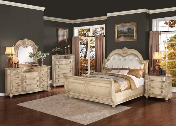 Homelegance Palace Ii Upholstered Bedroom Set - Antique White 1394ww-bed-set
