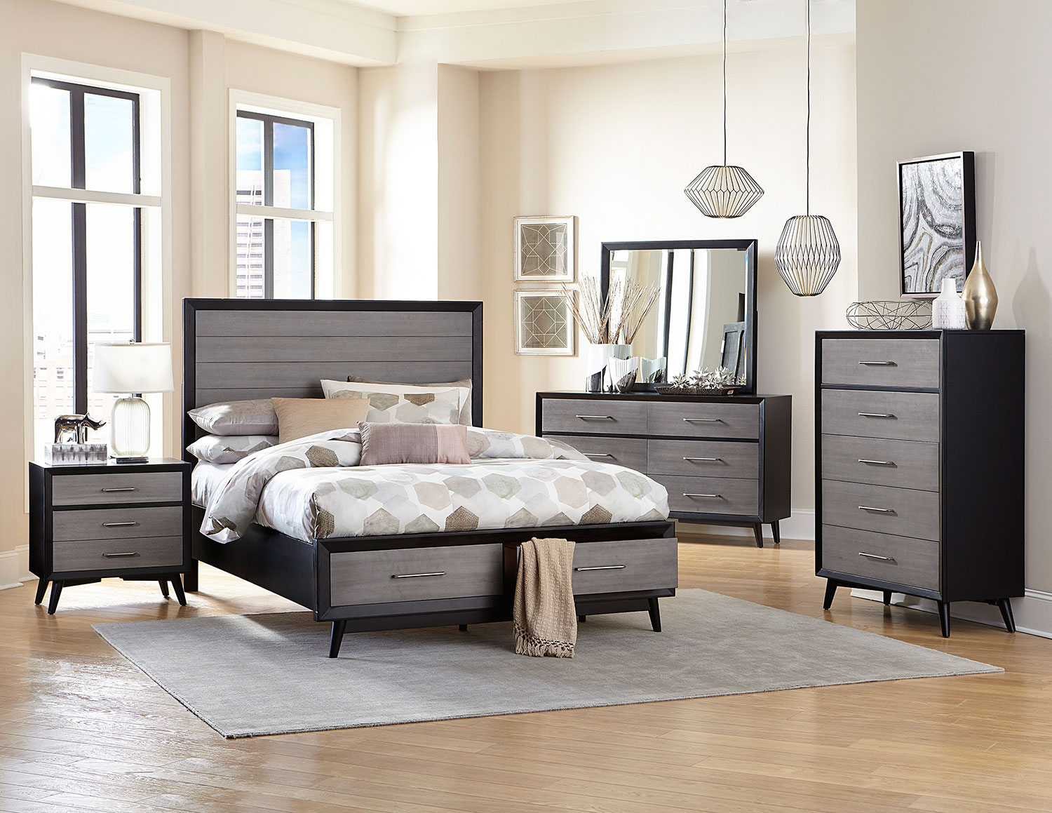 homelegance raku bedroom set - barnwood grey 1711-bedroom-set at
