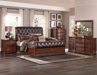 Homelegance Brompton Lane Upholstered Bedroom Set - Cherry ...