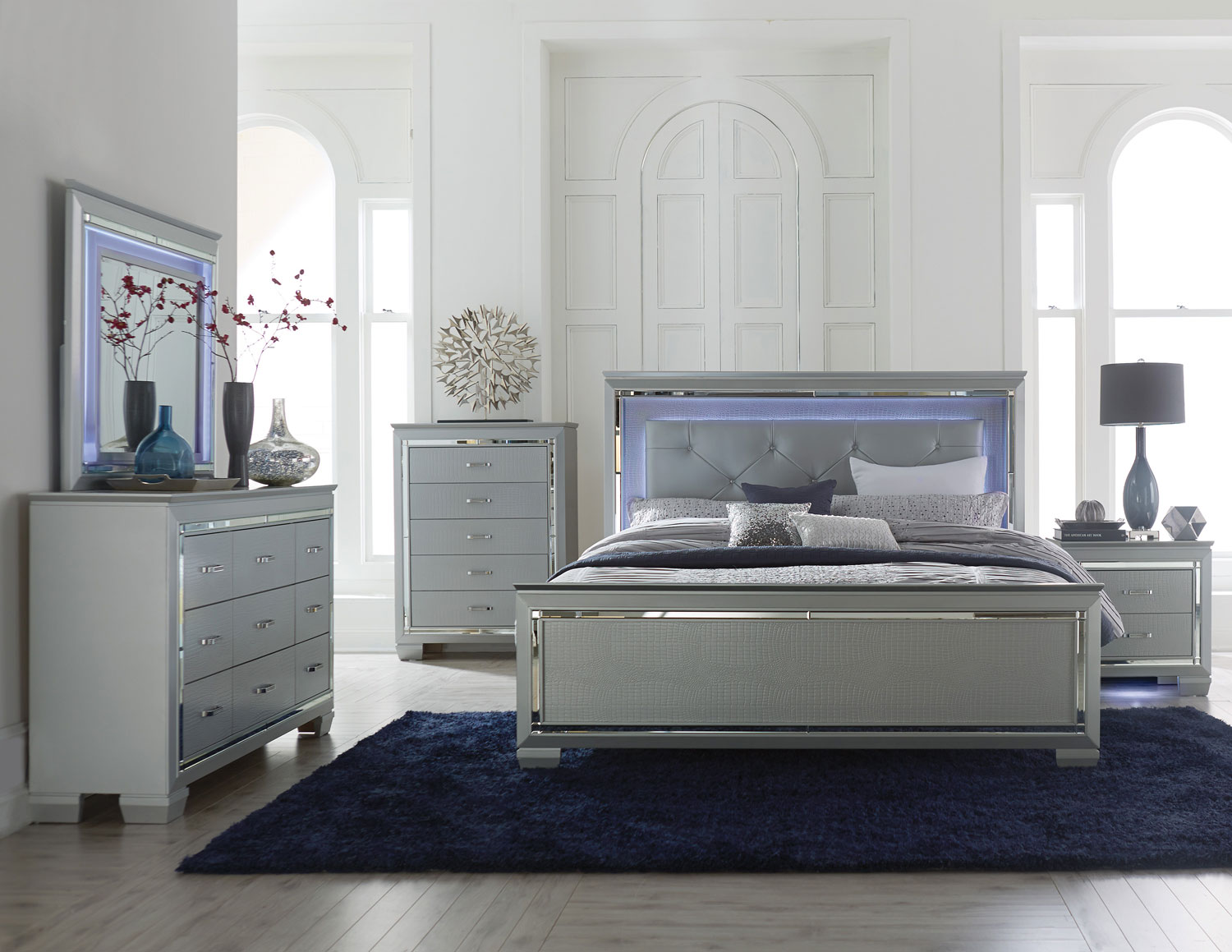 homelegance allura bedroom set with led lighting - silver b1916-1