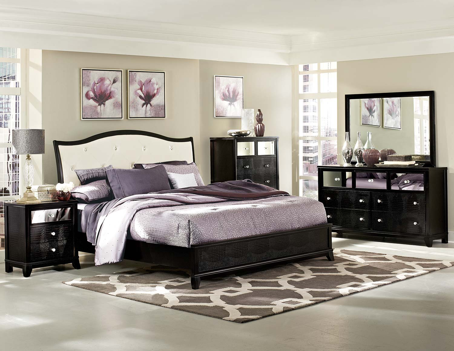 homelegance jacqueline upholstered bedroom collection - faux
