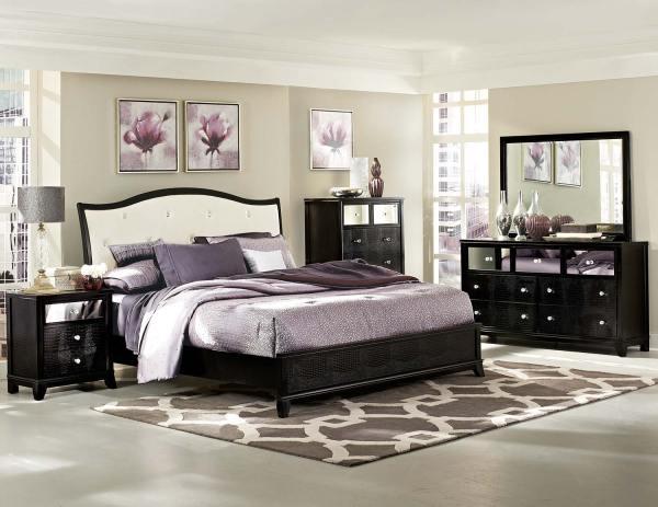 Homelegance Jacqueline Upholstered Bedroom Collection - Faux Alligator Black 2299w-bed-set