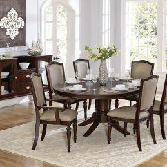 Oval Dining Room Chair Covers Cream Crushed Velvet Homelegance Marston Pedestal Set Dark Cherry