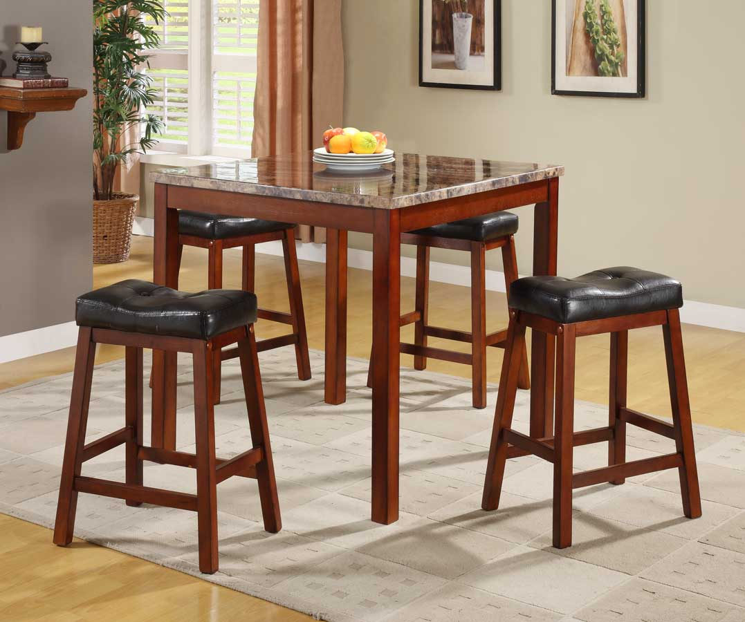 marble top table with 4 chairs baby high chair argos homelegance achillea 5 piece counter height dining set