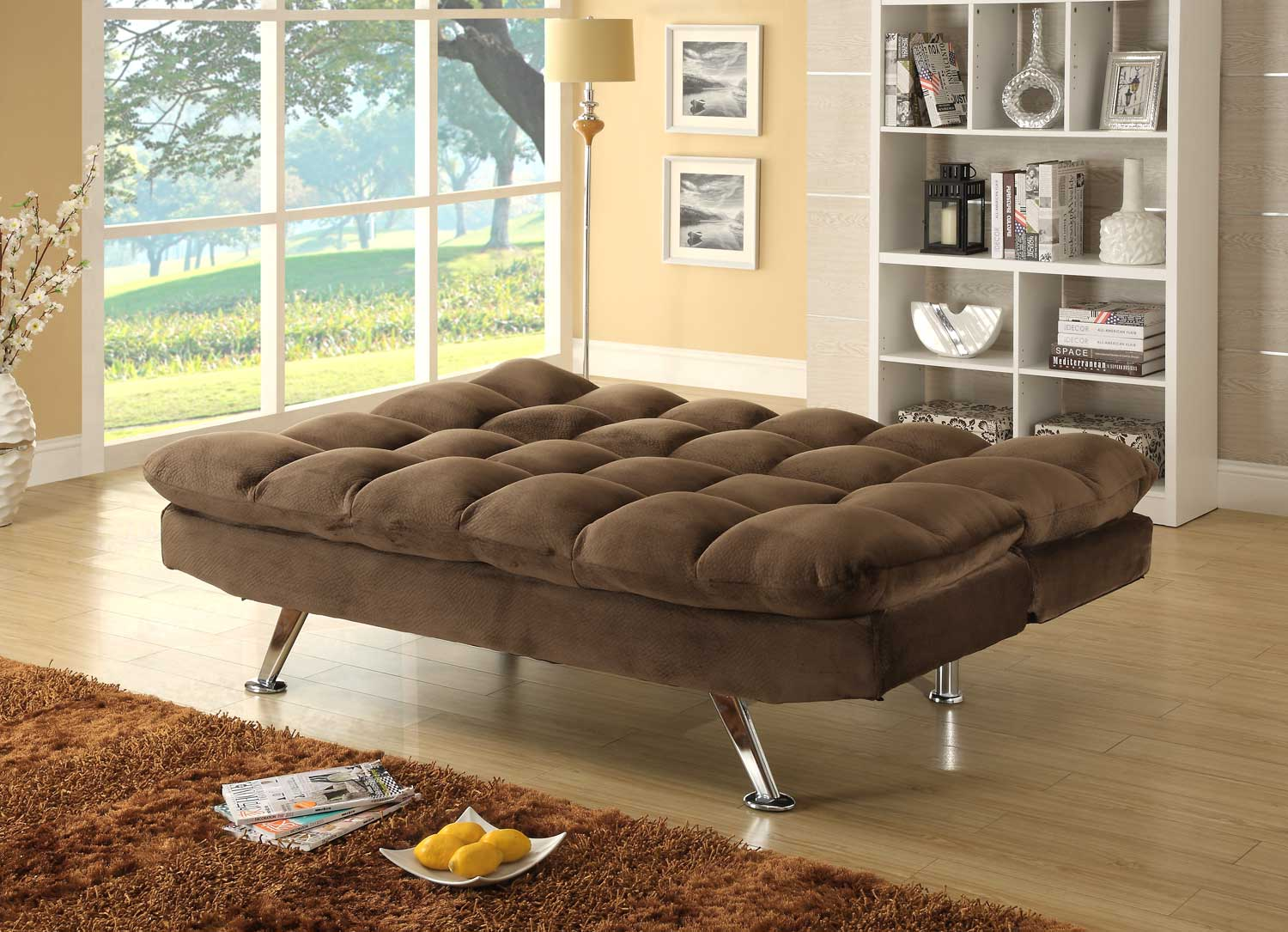 how to open click clack sofa bed reclining slipcover sure fit homelegance jazz chocolate