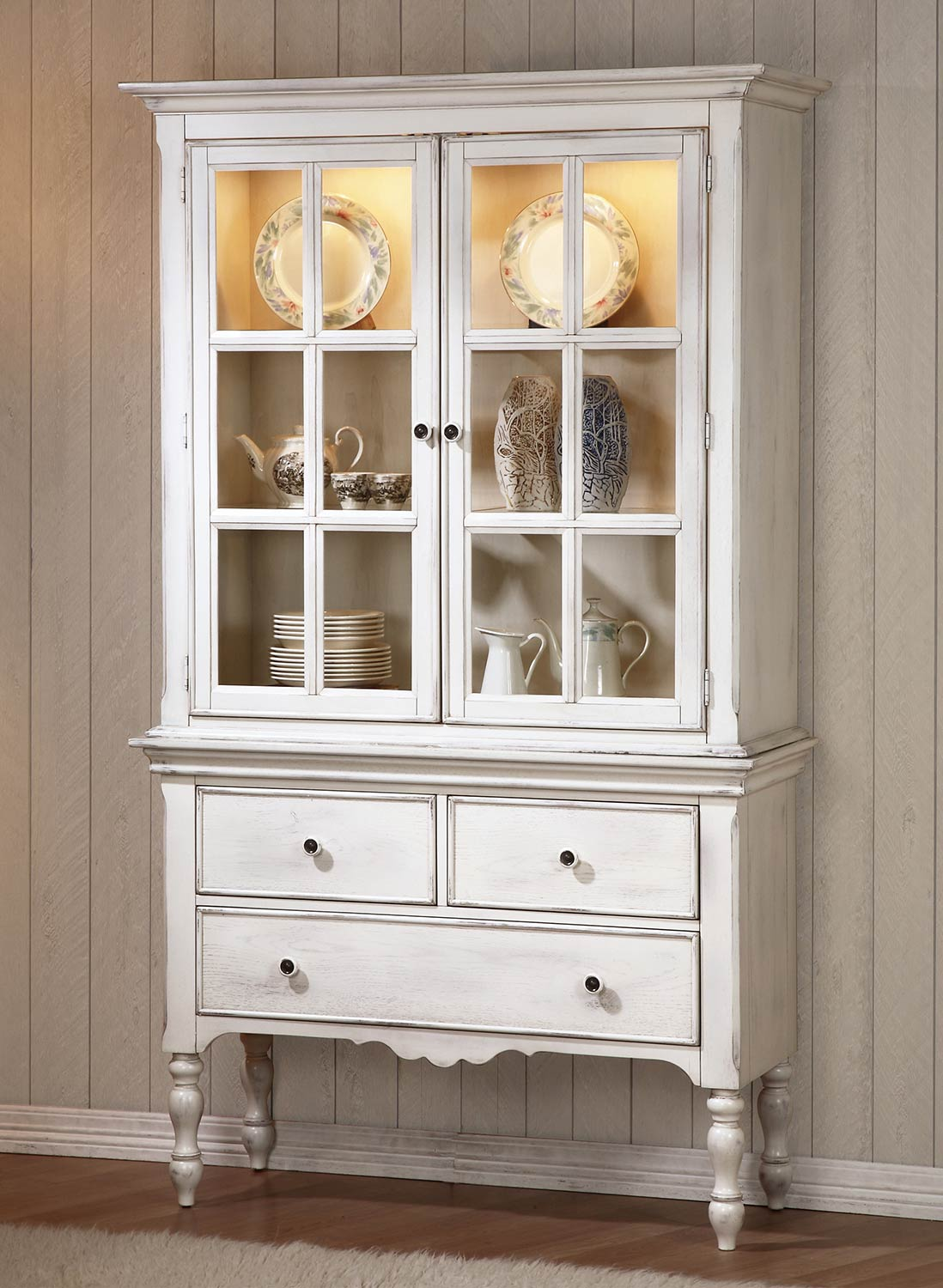 Homelegance Hollyhock China Cabinet  Distressed WhiteOak 51235055 at Homelementcom