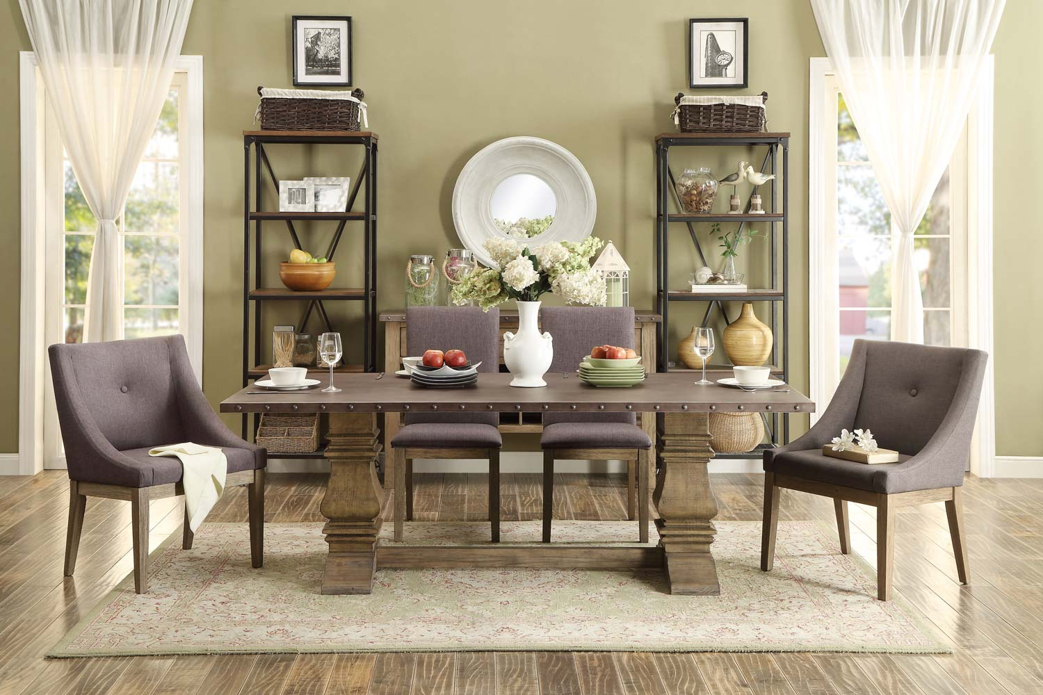 anna slipcover chair collection table set homelegance claire dining s1 s3 driftwood zinc