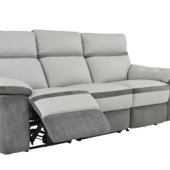Light Gray Leather Reclining Sofa Baby Bed Philippines Homelegance Otto Power Double Top Grain