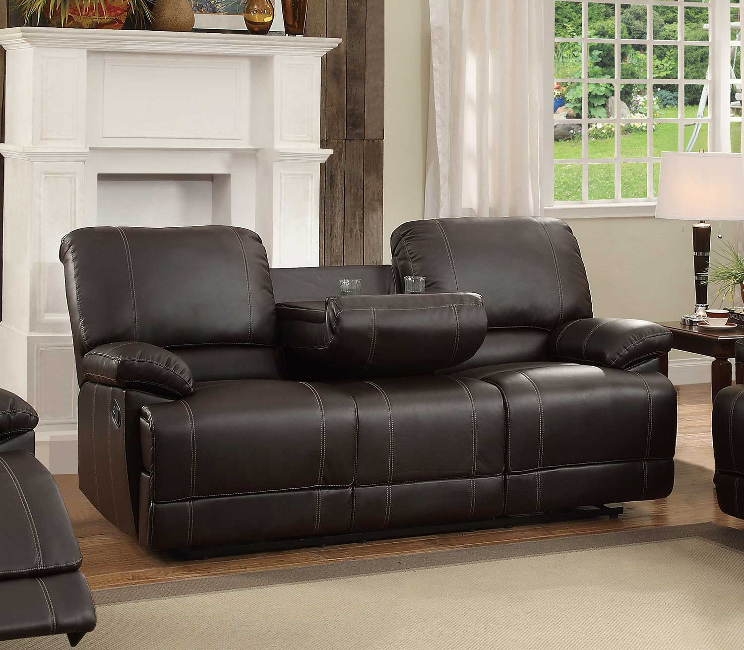 double recliner chairs with cup holders wedding chair cover hire brighton homelegance cassville reclining sofa center