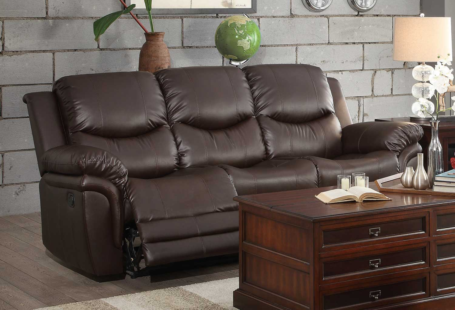 dark brown leather chair wrought iron rocking chairs homelegance st louis park reclining sofa set