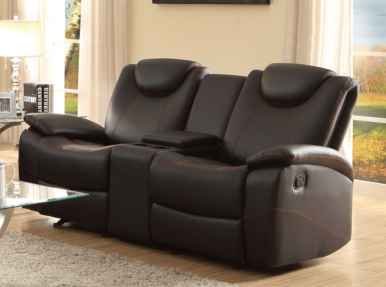 reclining club chair macy stool grey homelegance talbot double glider love seat with center console - black bonded leather ...