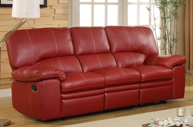 Homelegance Kendrick Double Recliner Sofa  Red  Bonded