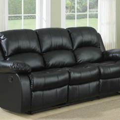 Black Reclining Sofa With Console 3 Seater Set Homelegance Cranley Double Bonded