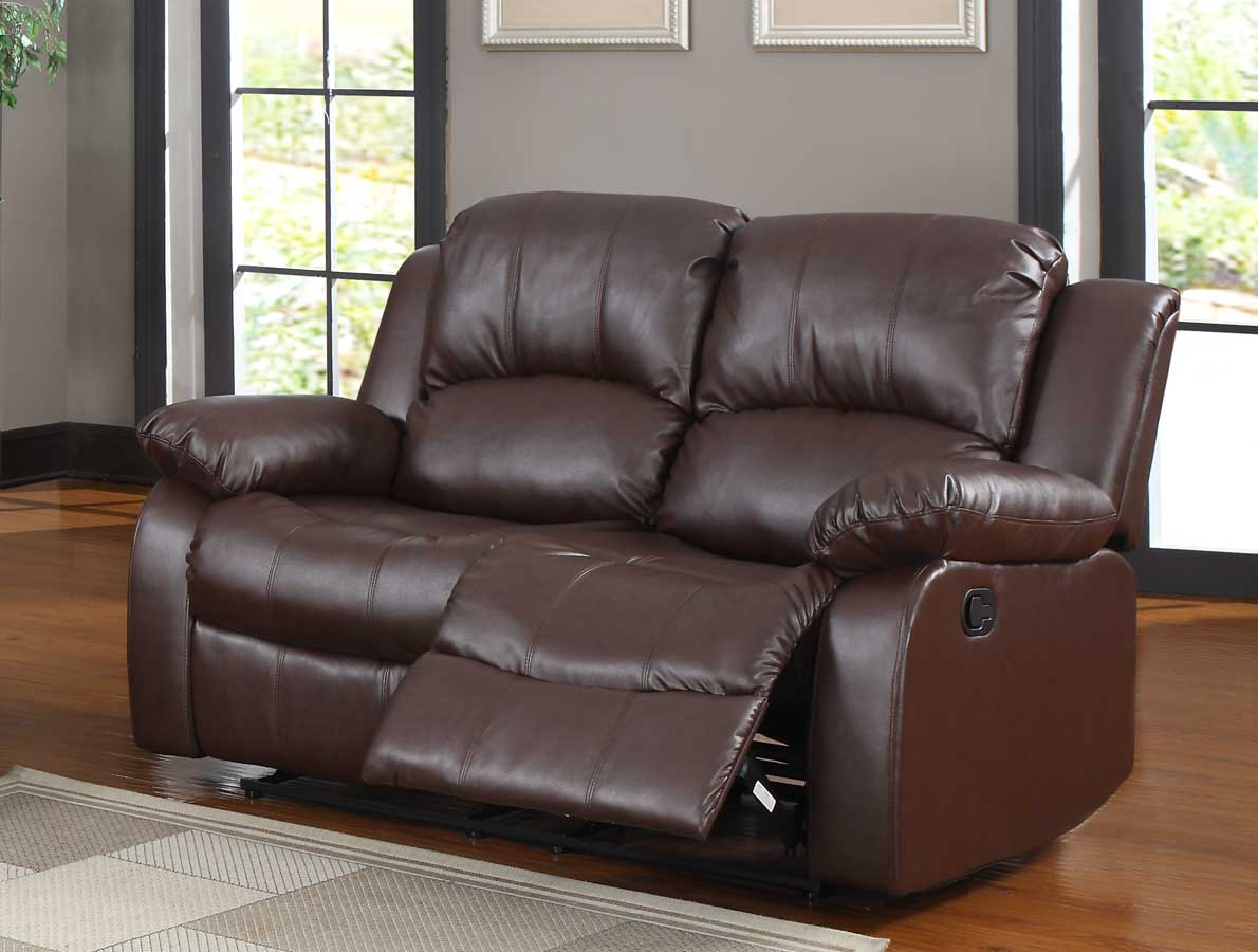 bonded leather reclining sofa set how to make a slipcover with sheets homelegance cranley brown
