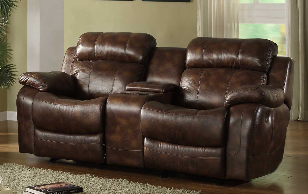 double recliner chairs with cup holders sailcloth beach homelegance marille rocking reclining loveseat in warm brown ~ leather sectionals sofas ...