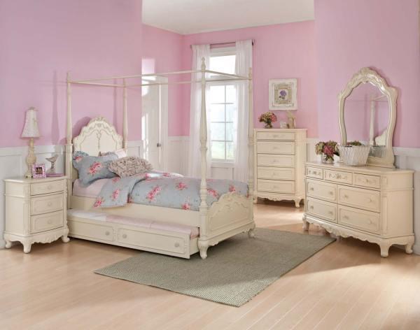 Girls White Canopy Bedroom Set