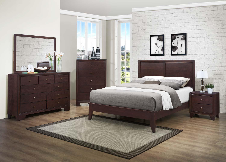 Homelegance Kari Bedroom Set  Warm Brown Cherry B2146BED