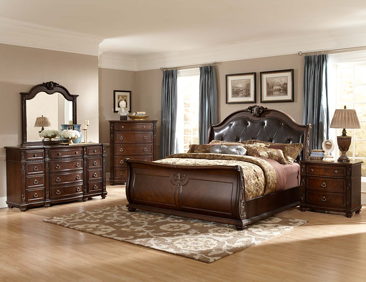 Homelegance Hillcrest Manor Sleigh Bedroom Set  Cherry B2169SLBEDSET at Homelementcom