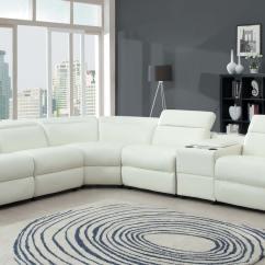 White Bonded Leather Sectional Sofa Set With Light Box Cushion Slipcovers Homelegance Instrumental