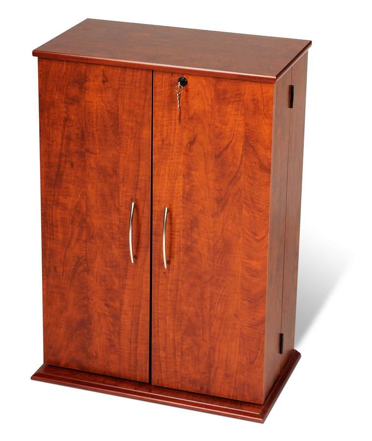 Prepac CherryBlack Small Locking Media Storage Cabinet