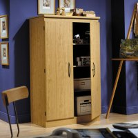 South Shore Morgan Honey Oak Armoire Storage Cabinet ...