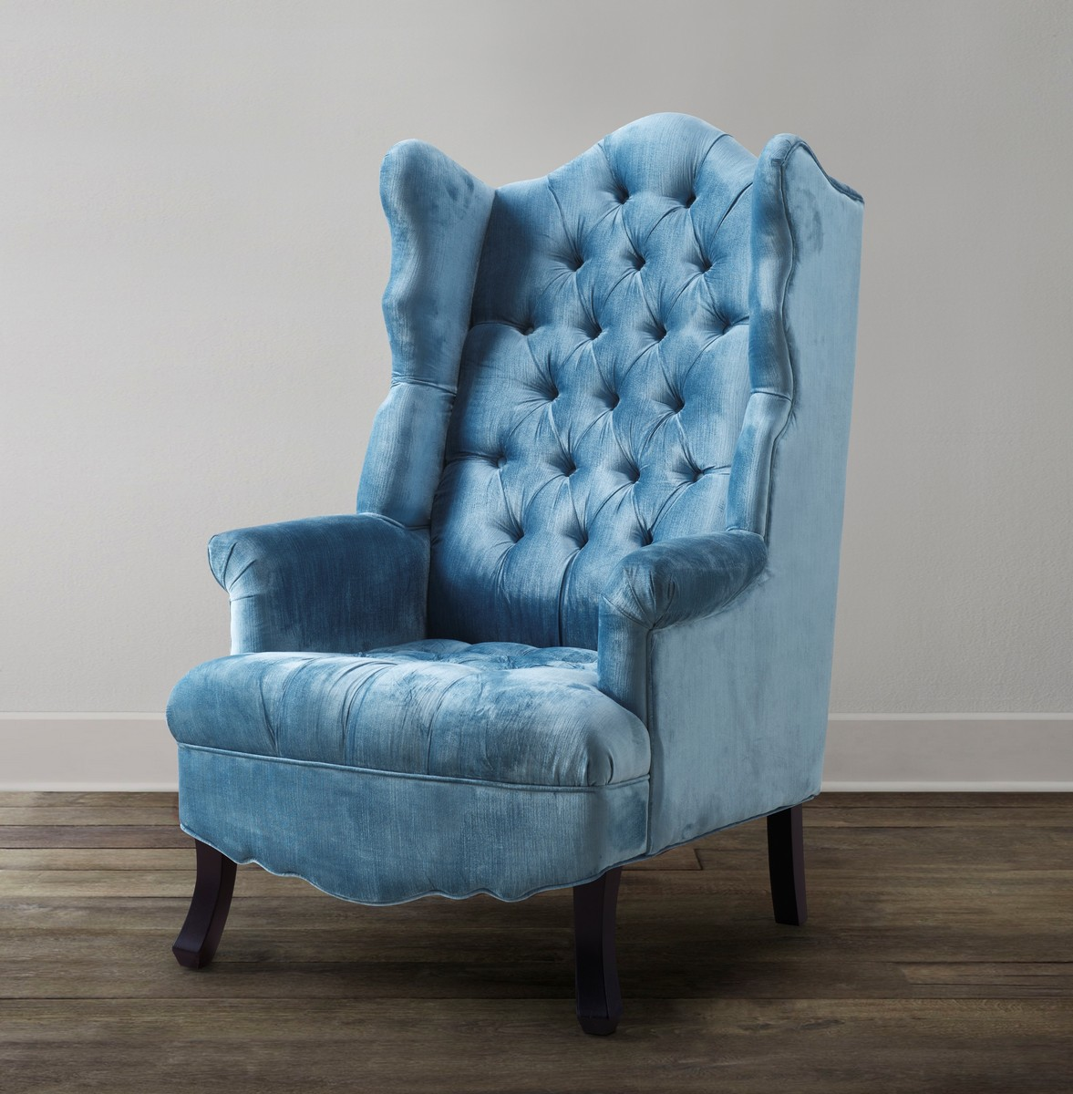 blue wing chair folding outdoor tov furniture madison velvet a35