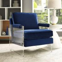 TOV Furniture Serena Navy Velvet/Lucite Chair A94 at