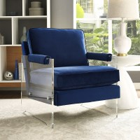 TOV Furniture Serena Navy Velvet/Lucite Chair A94 at ...