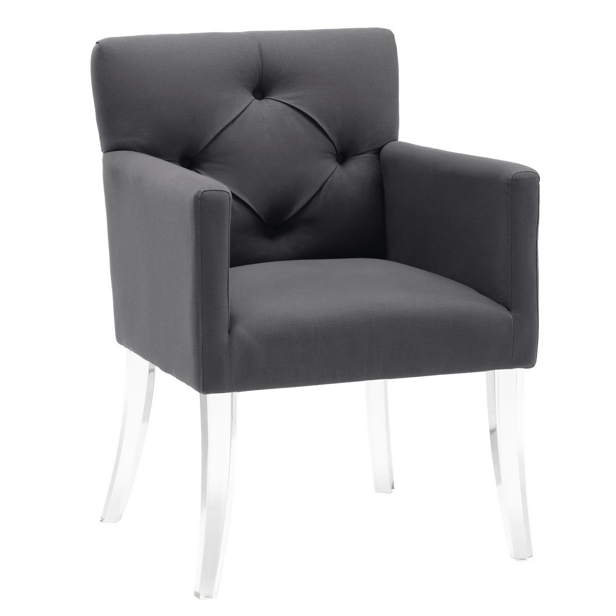 acrylic chairs with cushions owl chair for kids tov furniture lafayette grey linen a99 at
