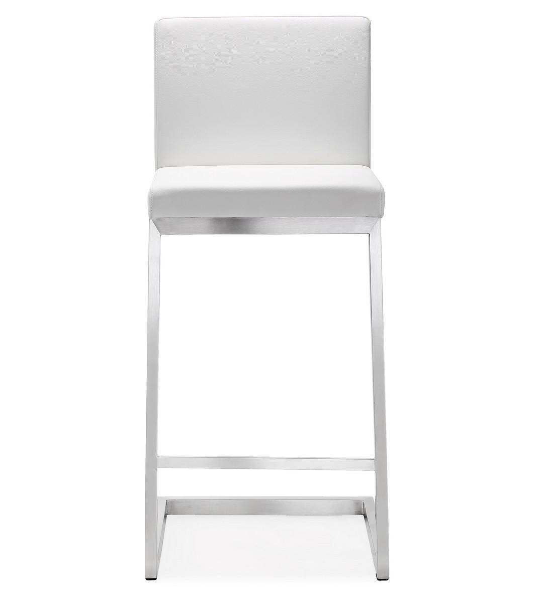 stainless steel stools kitchen aid artisan mixer tov furniture parma white counter stool