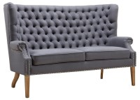 TOV Furniture Abe Grey Linen Wing Loveseat S2063 at ...