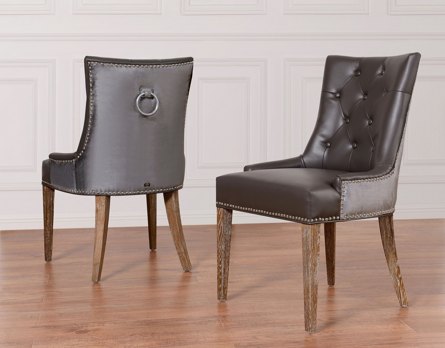 gray dining chair indoor swing nz tov furniture uptown grey leather velvet upt